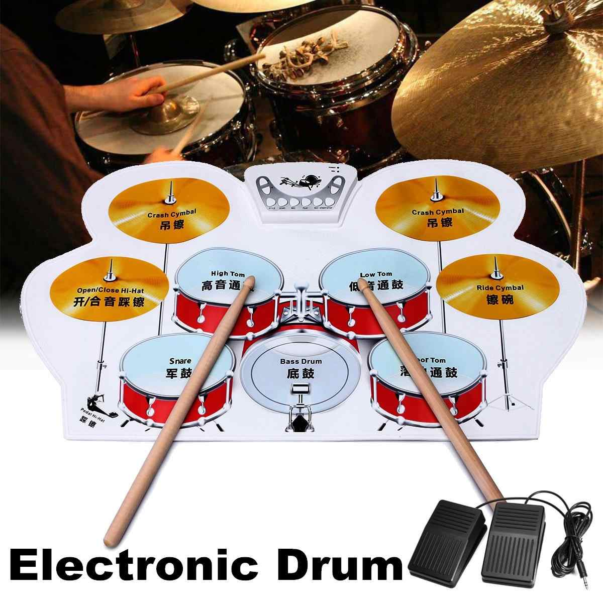 Portable Electronic Drum Digital USB 7 Pads Roll up Drum Set