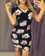 Summer Dresses 2019 New Women Summer Sexy Short Sleeve Deep V-Neck Slim Short Floral Print Mini Pencil Dress цена и фото
