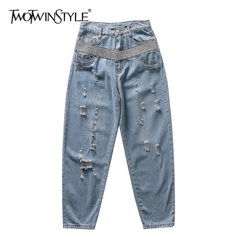 TWOTWINSTYLE Spring Ripped Hole Beading Patchwork Denim Trousers For Women High Waist Women   Jeans   Casual 2019 Fashion Tide