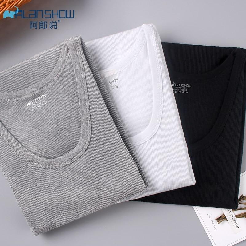 ALSHOW Best Sellers Stretchy Men Vest Pure Cotton Breathable Round Neckline Vest For Men Coarse-pitch Thread