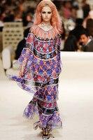 См. оранжевое 2018 модное шоу геометрическое летнее платье женское шифоновое многослойное платье с рукавами «летучая мышь» пляжное платье дл
