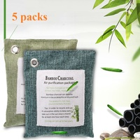 wildly used Air Purifying Bags 5 Packs for car bathroom Nature Fresh Style Charcoal Bamboo Air Purifying Bag Mold Odor Purifier