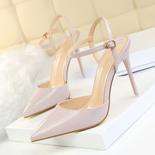Summer Women Thin Heels Pumps Pointed High-heeled Sandal Patent Leather Sexy Slim Sandals OL Shoes Single Shoes DS-A0090 цена в Москве и Питере