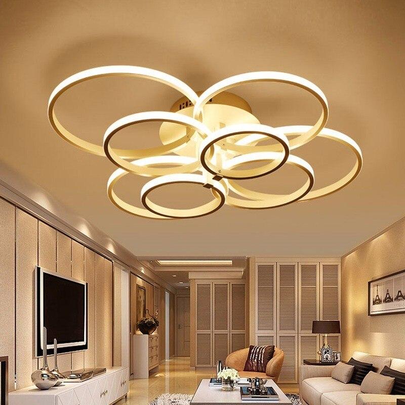 Moderne LED Luminaires de Plafond Pour Salon Chambre Éclairage À La Maison Avec Télécommande Dimmable Noir Qui Lampe Lustre