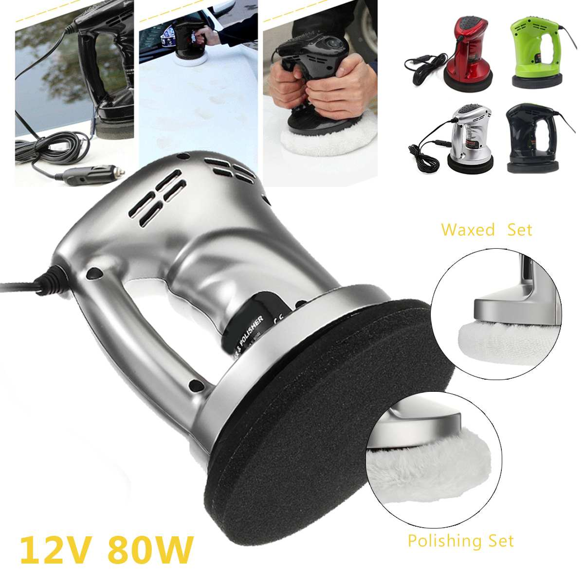 12V  Car Auto Polisher Vehicle Polishing Machine   Electric Tool Buffing Waxing  Buffer Waxer ABS Vacuum Cleaner Tools Kit