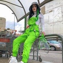 Neon Green Bib Suspender Pants Casual Women Street Chains Harem Romper Overalls High Ladies Solid Full Jumpsuits