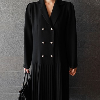 CHICEVER Patchwork Chiffon Blazer Dress Female Long Sleeve Double Breasted Pleated Dresses Autumn Korean Fashion Clothing New 4