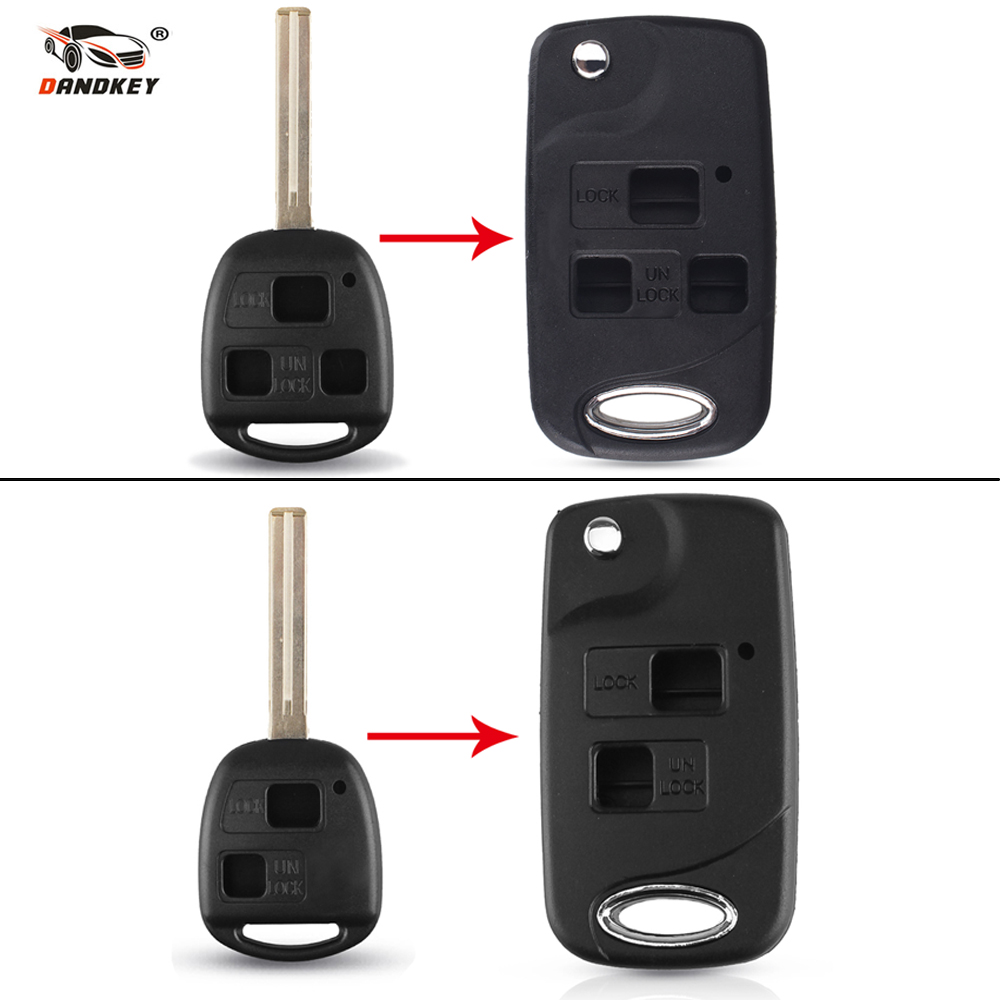 Dandkey For <font><b>Lexus</b></font> GX470 RX350 ES300 <font><b>RX300</b></font> RX400h SC GS LS Modified 2/3 Button Flip Key Shell Blank Key Case Fob Replacement image