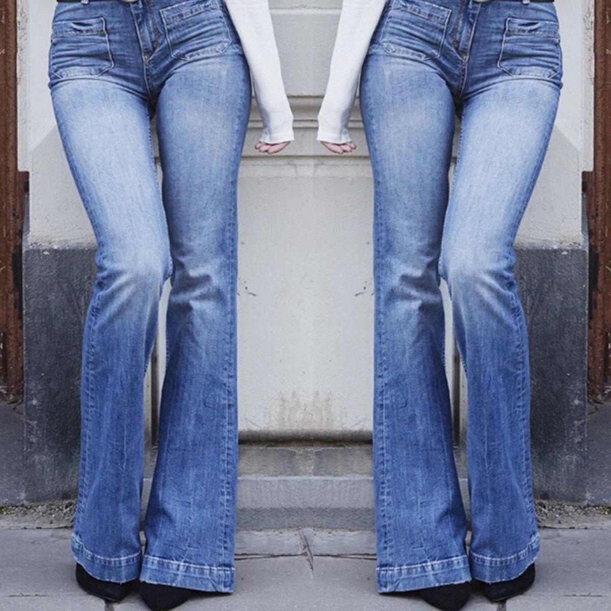 Women High Waist Jeans Flare Pants Fashion ladies Denim Fit Pocket Long Pants Spring  Autumn Trousers