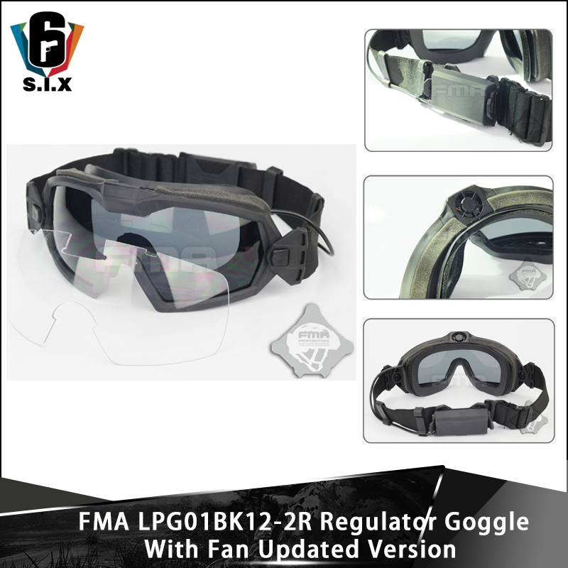 FMA Tactical Googles Airsoft Paintball Eyewear Protection LPG01BK12-2R Regulator Updated Fan Version Goggle Windproof Glasses