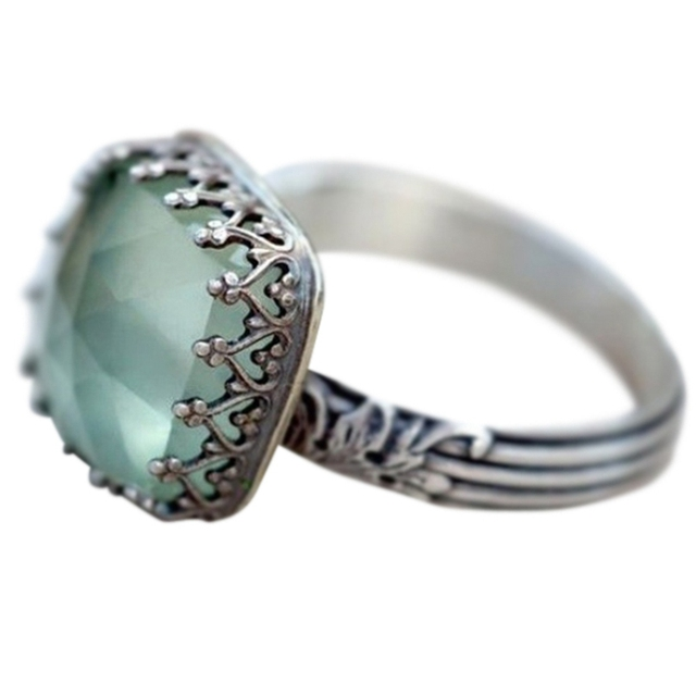 3e4d9a75a59a3 US $1.64 |Vintage Thai Silver Mint Green Moonstone Ring Simple Green Square  Zircon Ring For Women Fashion Retro Female Rings Jewelry-in Rings from ...