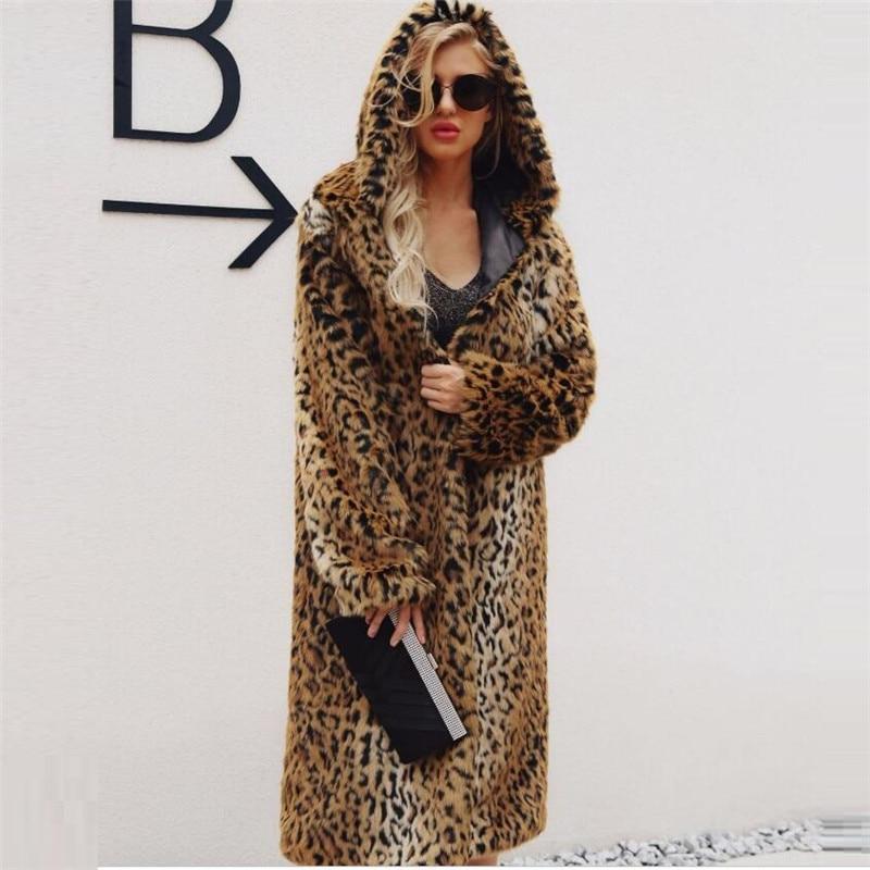 Manteau Nouveau De American European Fourrure Imprimé Long Populaire Capuchon 2018 Mode Style Léopard Multi Femmes Hiver Vêtements Automne À qnI6w54Yw