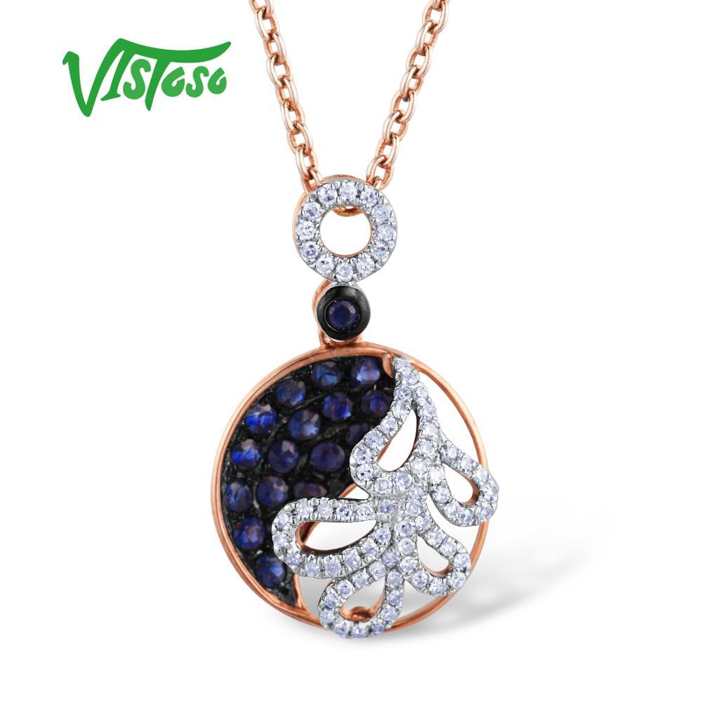 VISTOSO Gold Anhänger Für Frauen Authentische 14K 585 Rose Gold Funkelnde Blaue Saphir Diamant Luxus Halskette Anhänger Edlen Schmuck-in Anhänger aus Schmuck und Accessoires bei  Gruppe 2