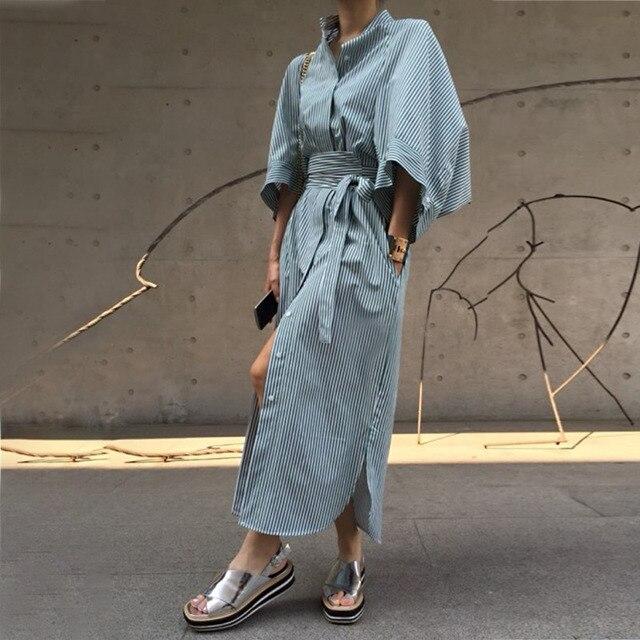 97f3d8a6bc05213 VGH Spring Women Dress Sexy Stand Collar Button Half Sleeve Bandage Bow  Slim Hem Ladies A