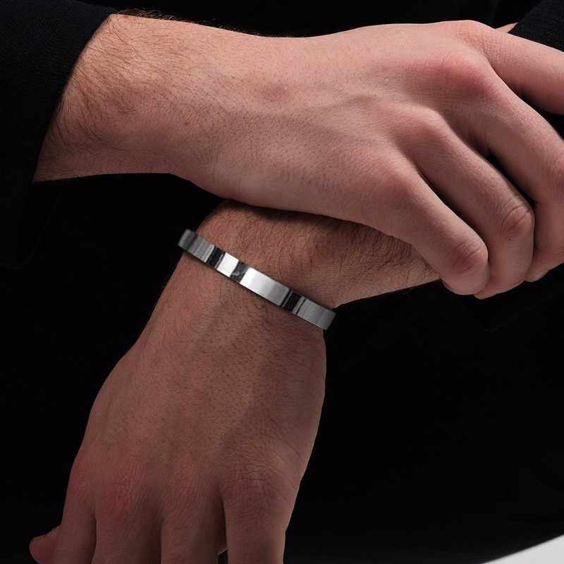 Personalized Engravable Classic Flat Cuff Bracelet for Men Bangle