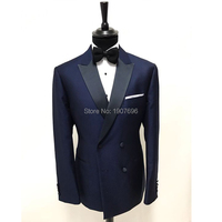 Tailor made Men Suits for Wedding Prom Groom Tuxedos Navy Double Breasted Slim Fit Man Suit Set 2 Piece Jacket Pants Costumes