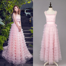 Pink dress summer and autumn new strap sexy cake party damen 18186