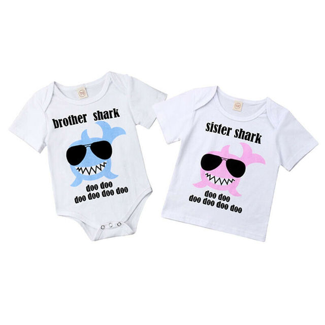 Summer Cute Newborn Toddler Baby Boys Girls Clothing Little Brother Baby Rompers Big Sister Kid T shirts Costumes