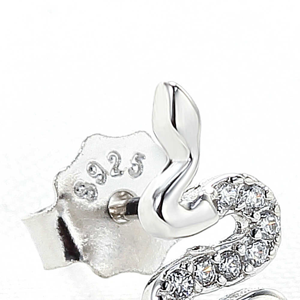 AIDAILA 100% 925 Sterling Silver Stud Earrings CZ Women's Jewelry Fashion Cute Tiny Snake Stud Earring Gift For Girl Kid Ladies