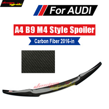 цена на Fits For Audi A4 A4a A4Q B9 wing Rear Trunk Spoiler M4 Style True Carbon fiber A4 B9 Rear spoiler wing Gloss Black 2016-2018