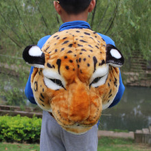 Novelty Tiger Head Backpack Shoulder Bag Plush Animal Face Zipper Closure Handbag White Yellow Lion Head Pack Animal Head(China)