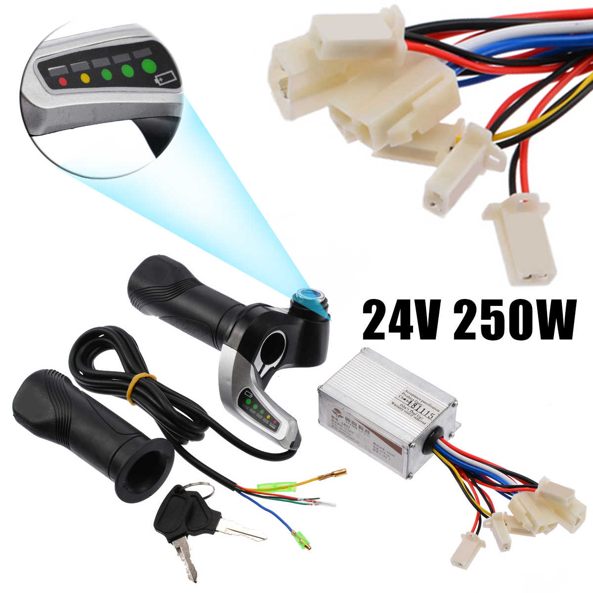 Redcolourful 24V 250W Motorrad Pinsel Speed Controller /& Scooter Throttle Twist Griffe
