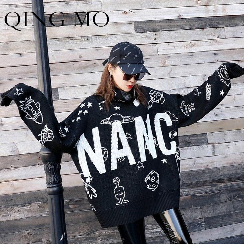 Femmes Automne Tricoter Chandail Mo Lettre Impression À Black 2018 Lâche Roulé Qing Robe Col Et D'hiver Noir Pull Qf159 w4XHEEq