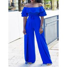 Sexy Off shoulder Jumpsuit Women Wide Leg Pants High Waist Slim Summer Fashion Blue Elegant Ladies Ruffle Party Long Jumpsuits(China)