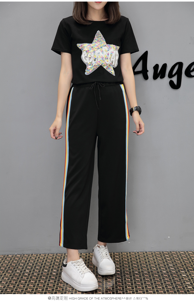 Women Casual Elastic Waist Wide Leg Sweatpants Rainbow Striped Printed Trousers 2019 Spring Summer Ladies Joggers Sweat Pants in Pants amp Capris from Women 39 s Clothing