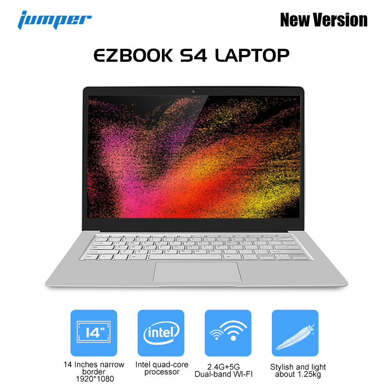 Jumper EZbook S4 Laptop 8GB RAM 256GB SSD 14 Inch Win 10 Intel Apollo Lake N4100 Quad Core 1.1GHz 0.3MP Camera Laptop Notebook