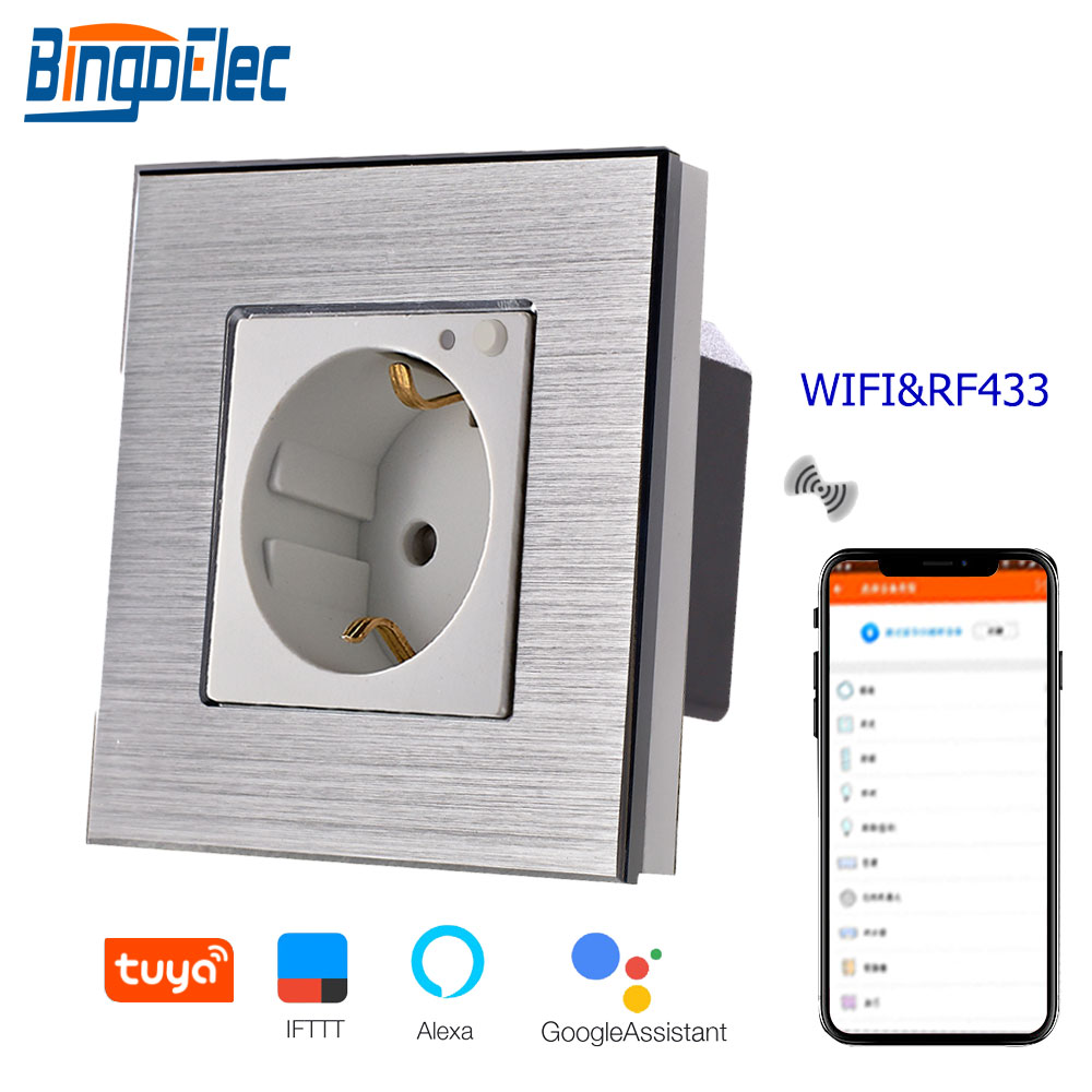 Bingoielec WIFI Socket EU Standard Aluminum Frame Germany Wall Socket Remote Control RF 433 With Wireless By Tuya APP Control