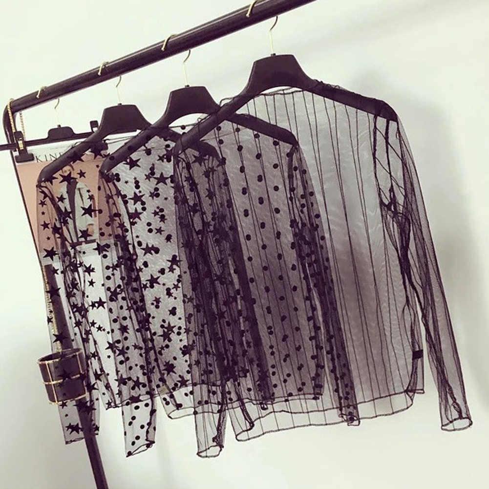 נשים סקסי Mesh Sheer תחרה חולצות פרספקטיבה ארוך שרוול צווארון עומד רשת חולצות פסים מנוקדת כוכבים מסיבת טי חולצות