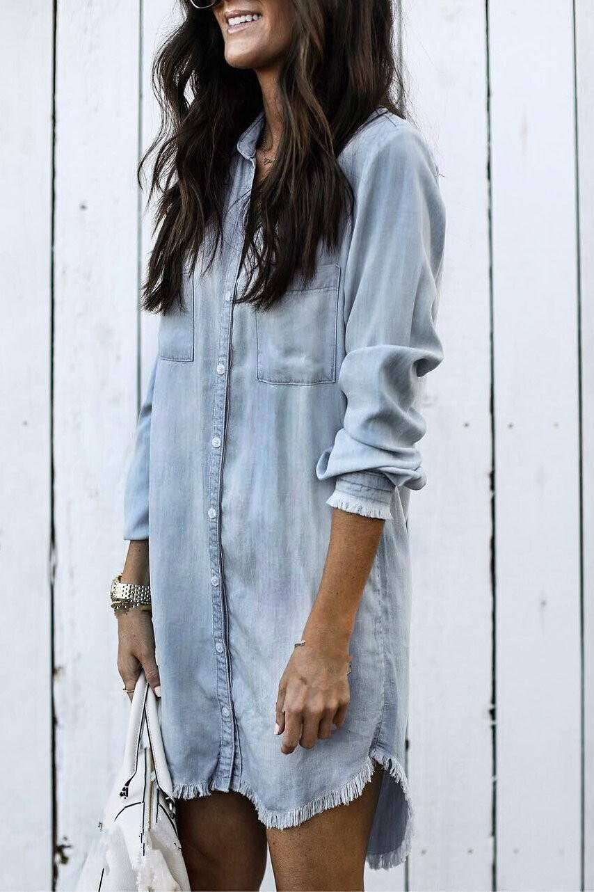 Women Tassel Denim Shirt 4