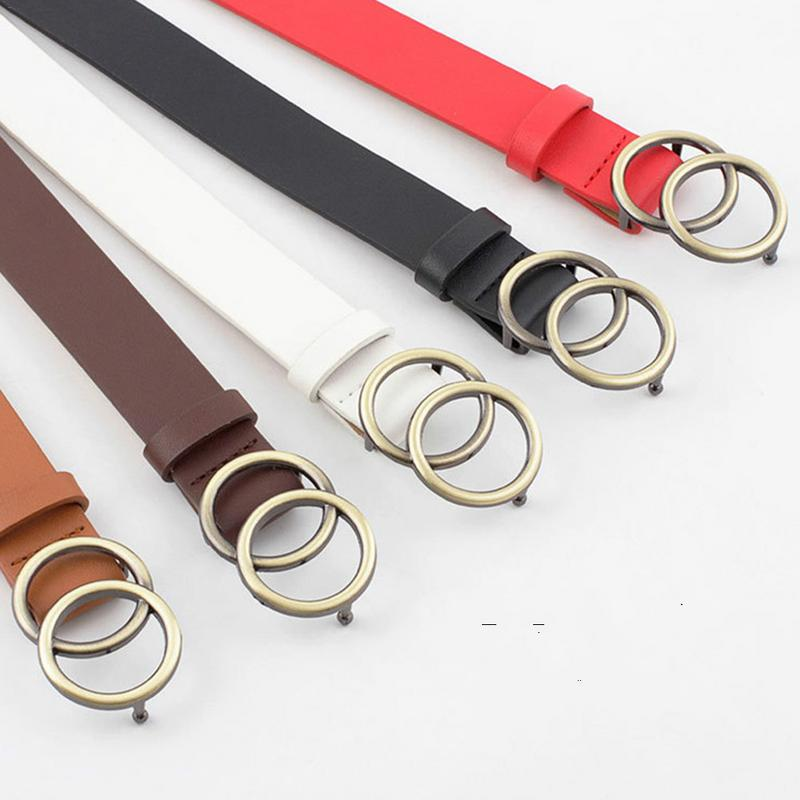 Female Leather   Belt   European And American Style Round Ring Metal Buckle Stylish Women's   Belt   For Jeans Pants Trousers Dress