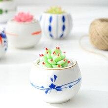3 шт. милый декоративный окрашенный керамический горшок миниатюрный контейнер для растений Семена бонсай цветок кактус