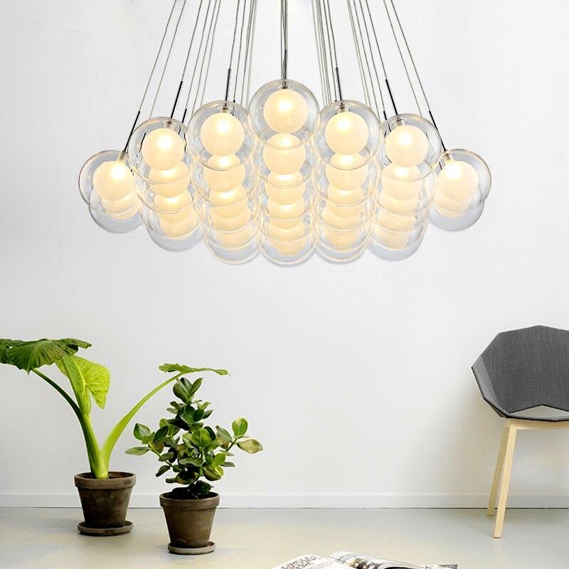 Işıklar ve Aydınlatma'ten Kolye ışıkları'de Modern LED avize oturma odası asılı ışıklar ev deco aydınlatma yemek odası armatürleri İskandinav yatak odası cam küre kolye lambaları