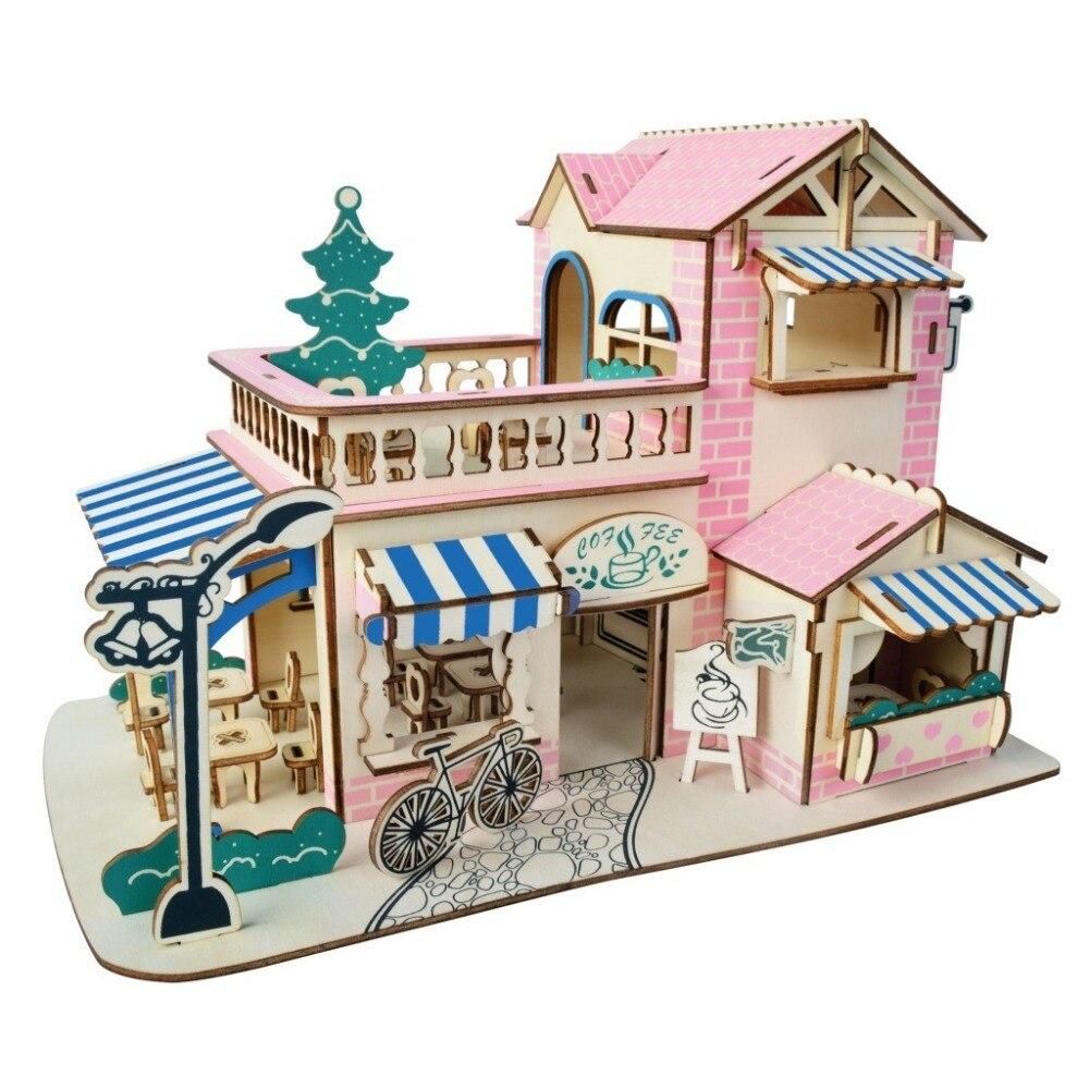 Nulong Laser De Coupe 3D En Bois Puzzle 3D bois Jigsaw Puzzle Woodcraft Assemblée Kit-ROMANTIQUE CAFÉ BAR avec 161 pcs pièces