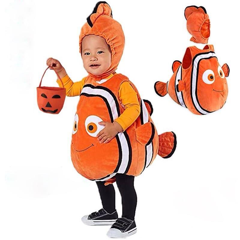 Baby Kids Fish Clownfish Nemo Costume from Pixar Animated Film Finding Nemo Christmas Cosplay Costume