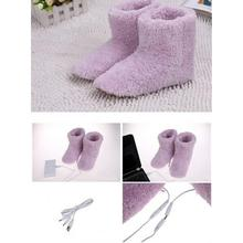 USB Electric Warm Shoes Heating Shoes Warm Foot Supplies Couple Warm Shoes Plush USB Shoes For Winter