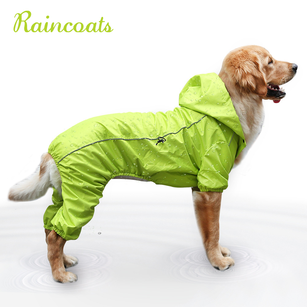 Large Dog Raincoat Cloak Golden Retriever Clothes Medium Big Dog Rain Coat Winter Costumes Waterproof Jumpsuit For Labrador
