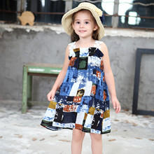 Kids clothes girls dress 2019 summer new ink painting bohemian holiday leisure sling childrens clothing
