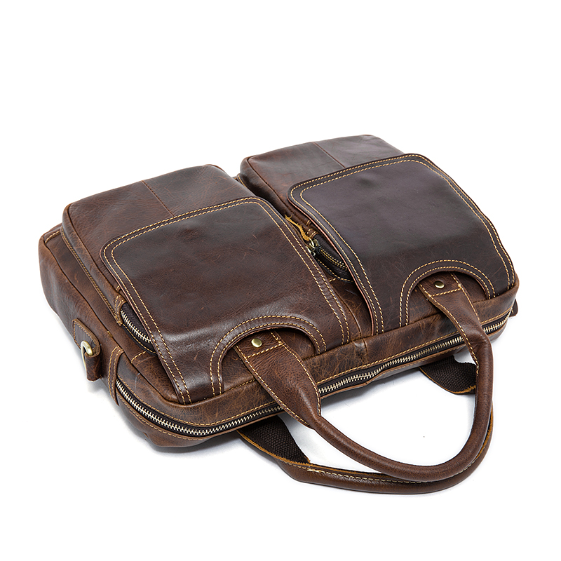Men s Briefcases Cowhide leather women Handbags Laptop Bag 14 inch Man Genuine Leather Business Messenger