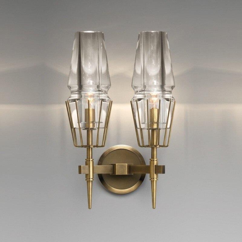 Moderne rétro mur LED lampe européenne en verre or applique murale chambre lampes de lecture couloir escaliers lumière décoration de la maison Luminaire