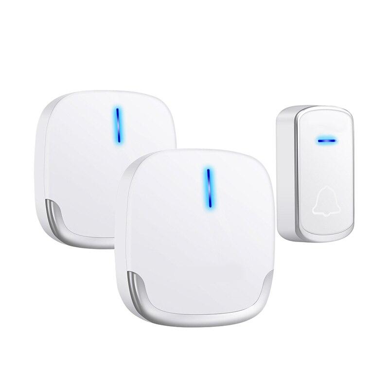 MOOL Wireless Doorbell Waterproof 280M Range Smart 58 Melody Ring Door Bell 1 Push Doorbells Button + 2Receivers Vc100-240V(Us