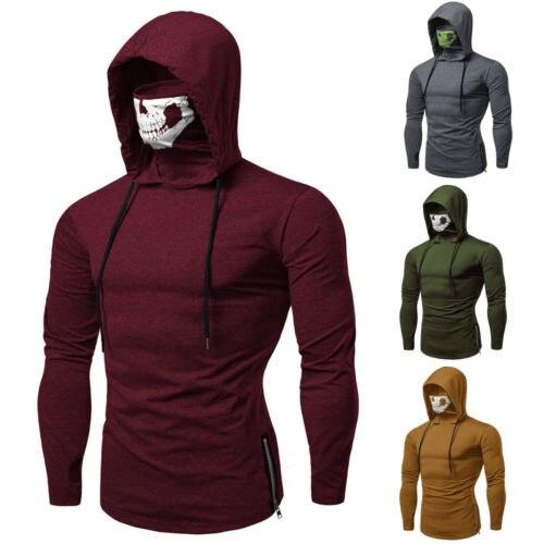 US Men's Long Sleeve Masked Hoodies Sweatshirt Hoody Jacket Pullovers Jumper Tops