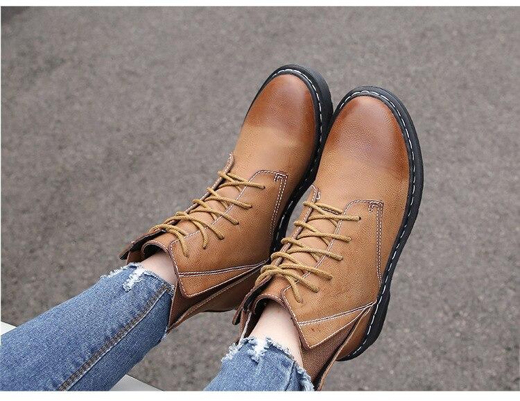 Chaussures With Décontracté Dames Fur Bout Martin Punk Lacet khaki Med Mode Rond Cheville De Solide Moto Noir black Femmes orange Bottes Up Fur QCrBdoexW