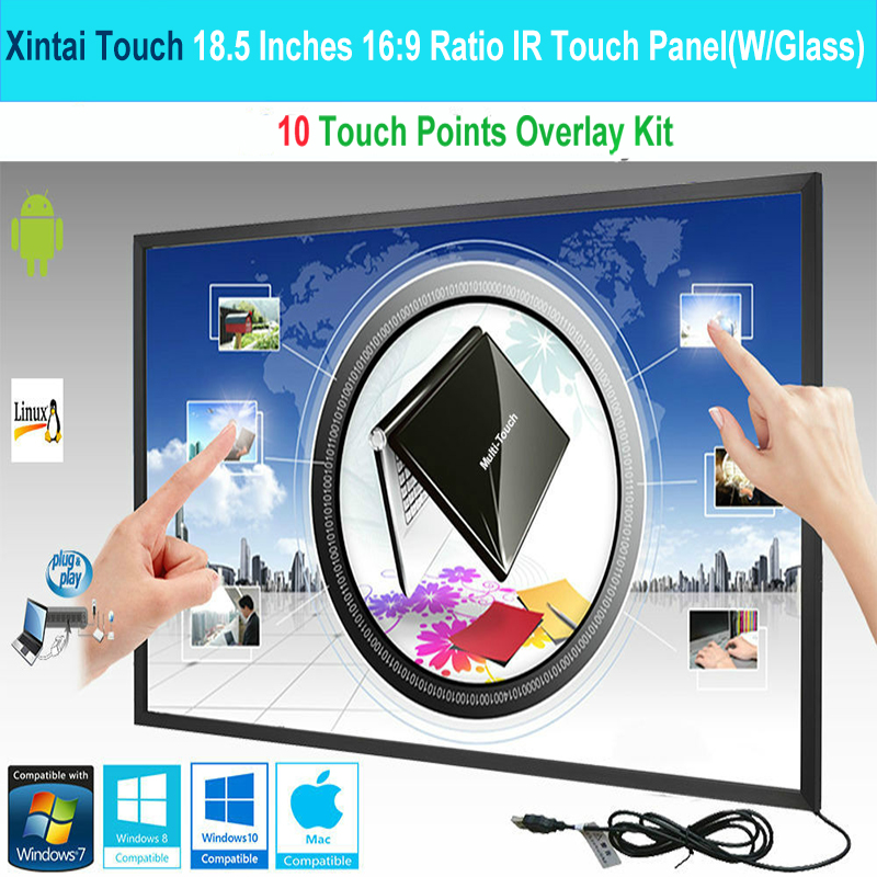 Xintai Touch 18.5 Inches 16:9 Ratio 10 Touch Points IR Touch Screen,Infrared Touch Panel With Glass Plug&Play