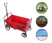 Outdoor Utility Wagon Folding Collapsible Garden Beach Shopping Camping Cart With Storage Basket Garden Trolley Carts