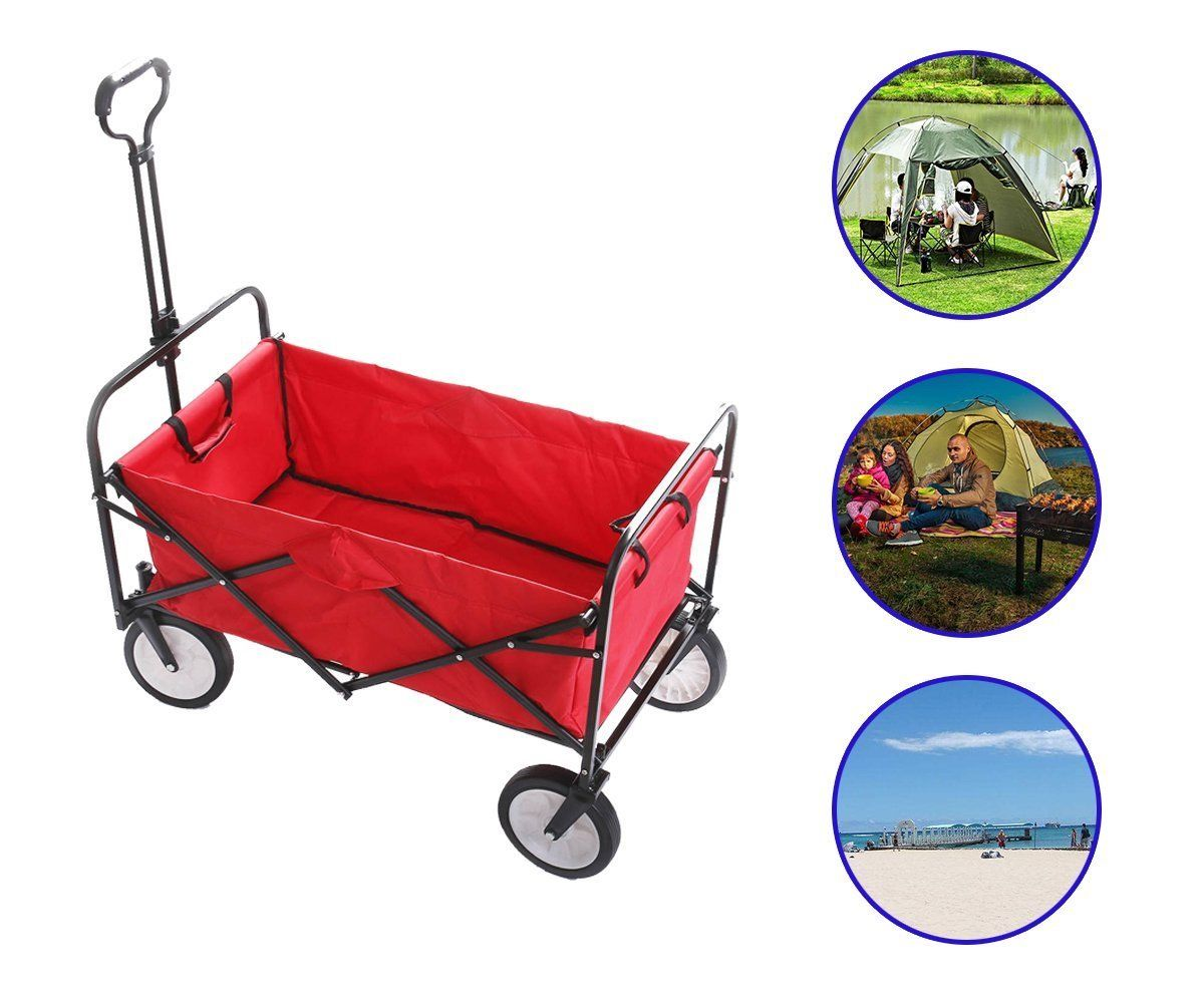 Outdoor Utility Wagon Folding Collapsible Garden Beach Shopping Camping Cart With Storage Basket Garden Trolley Carts image