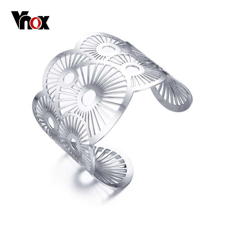 Vnox Stylish Wide Cuff Bracelet Hollow Bracelets & Bangles Classic Women Fashion Jewelry Accessories Silver Color Dia 6cm